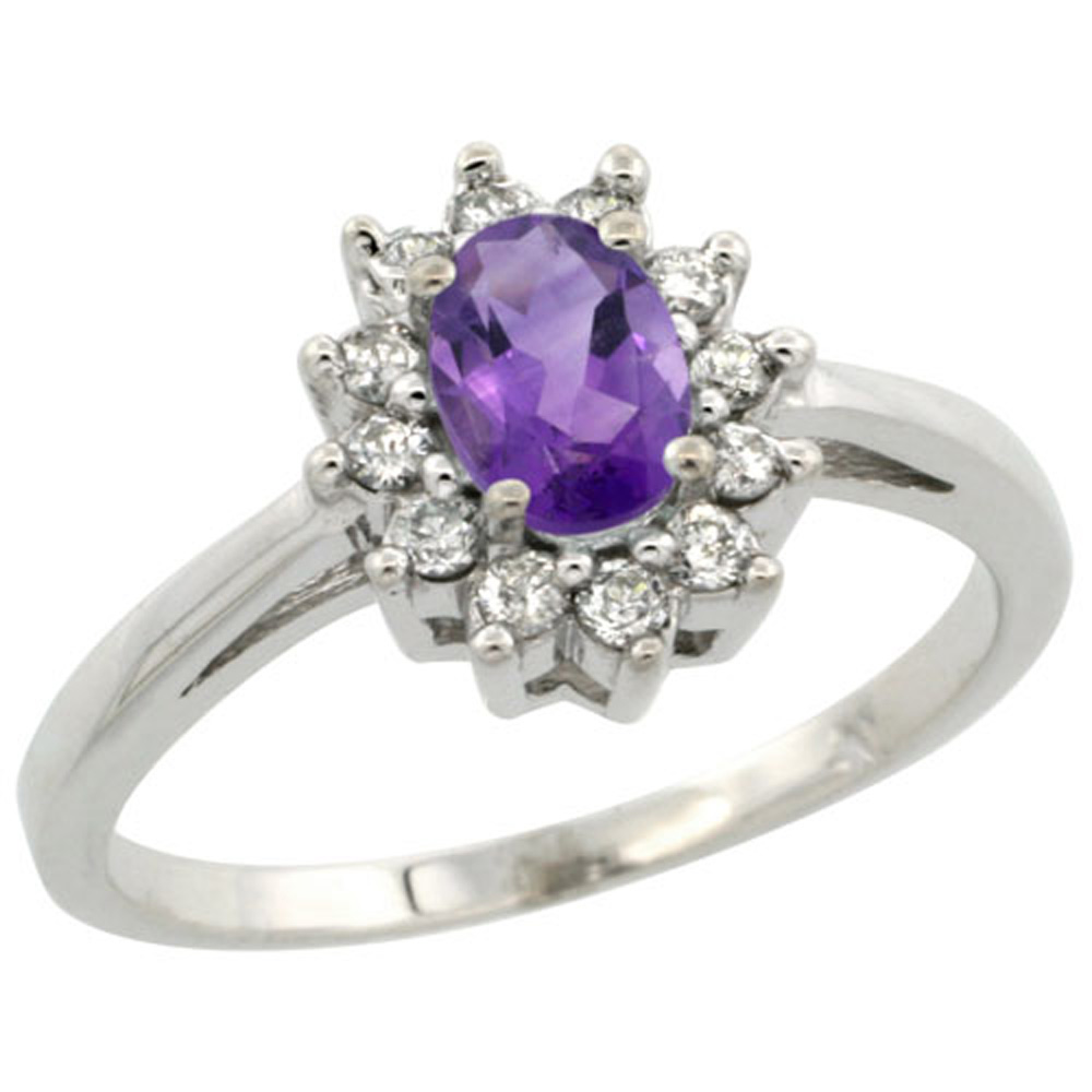 Sterling Silver Natural Amethyst Diamond Flower Halo Ring Oval 6X4mm, 3/8 inch wide, sizes 5-10