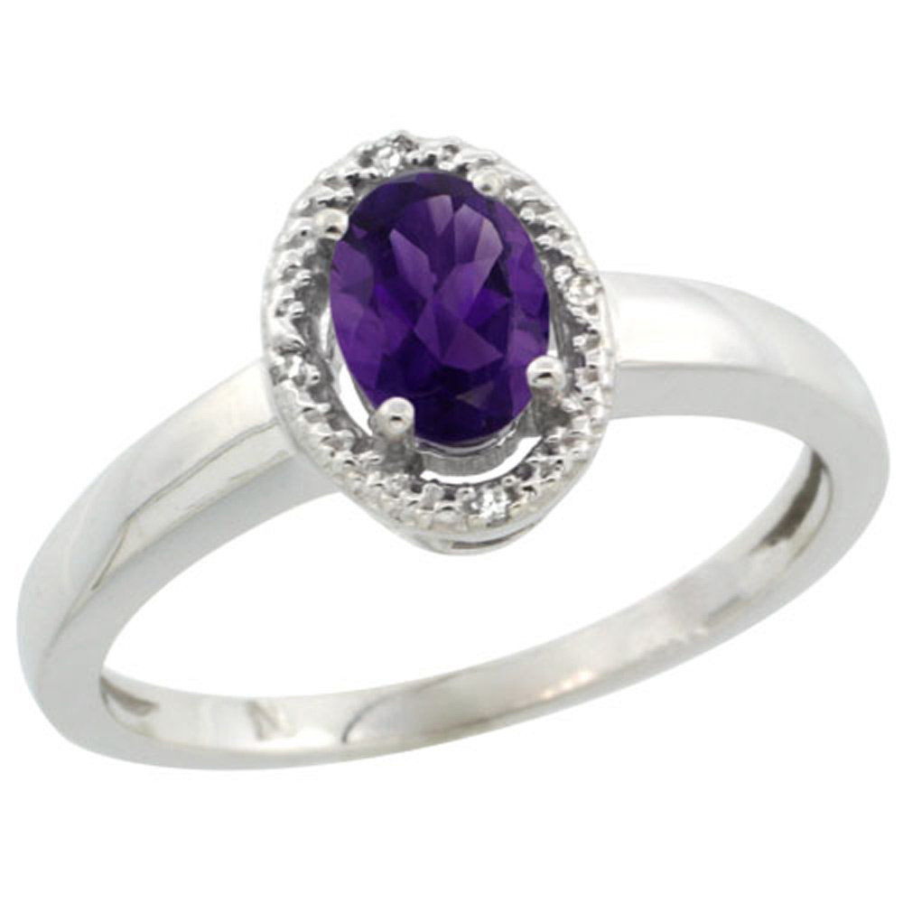 Sterling Silver Diamond Halo Natural Amethyst Ring Oval 6X4 mm, 3/8 inch wide, sizes 5-10