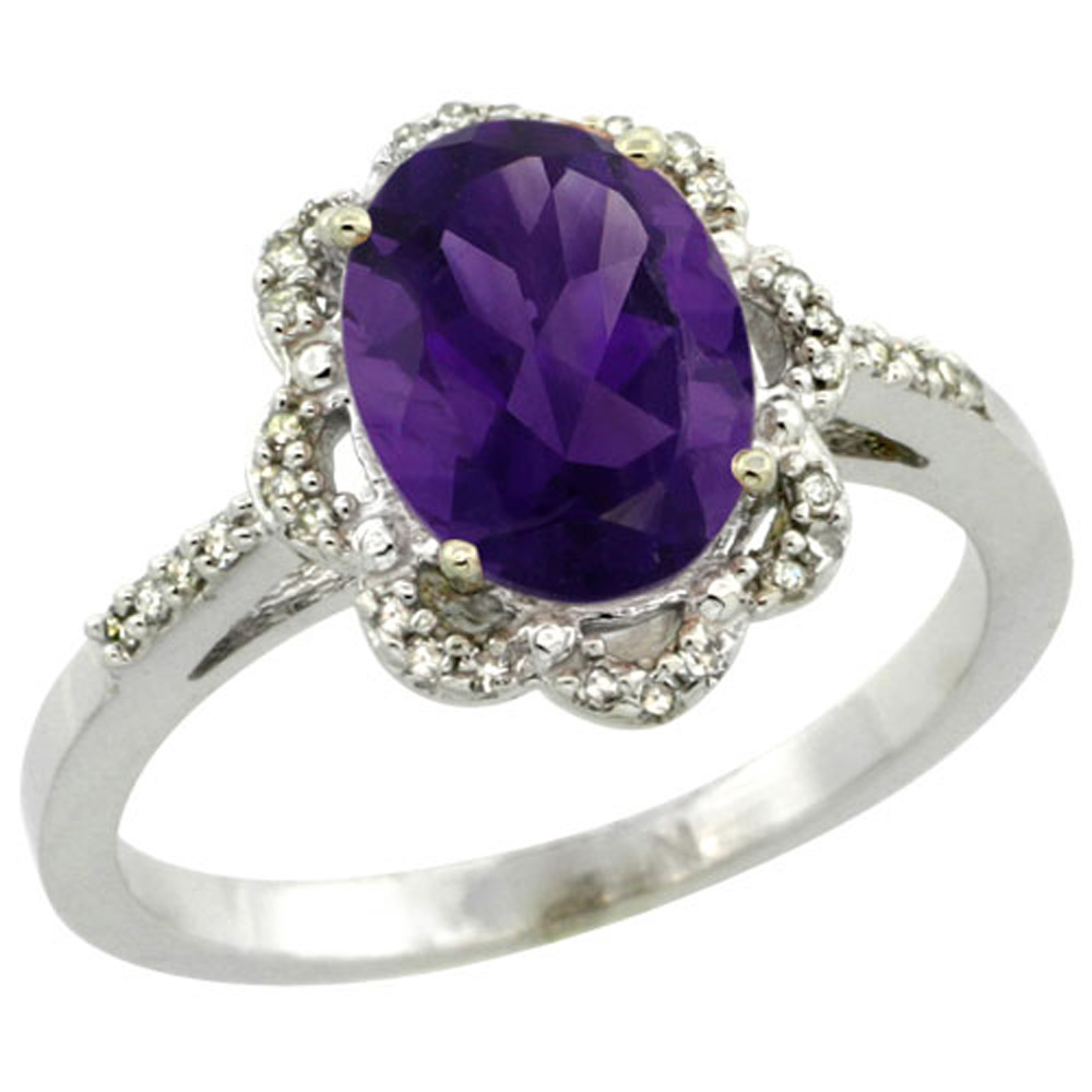 Sterling Silver Diamond Halo Natural Amethyst Ring Oval 9x7mm, 7/16 inch wide, sizes 5-10