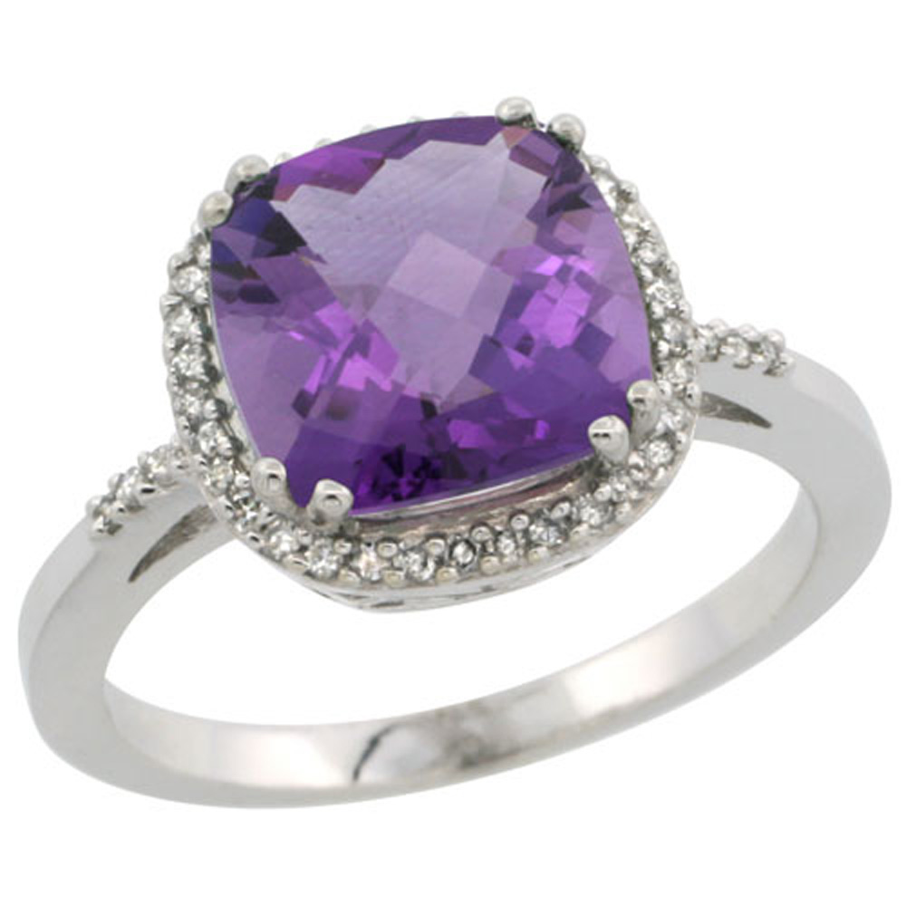 Sterling Silver Diamond Natural Amethyst Ring Cushion-cut 9x9mm, 1/2 inch wide, sizes 5-10