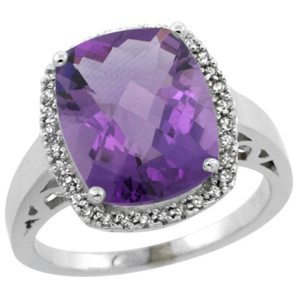 Sterling Silver Diamond Natural Amethyst Ring Cushion-cut 12x10mm, 1/2 inch wide, sizes 5-10
