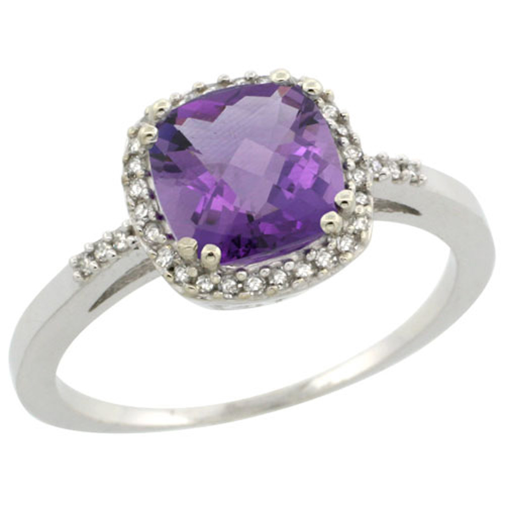 Sterling Silver Diamond Natural Amethyst Ring Cushion-cut 7x7mm, 3/8 inch wide, sizes 5-10