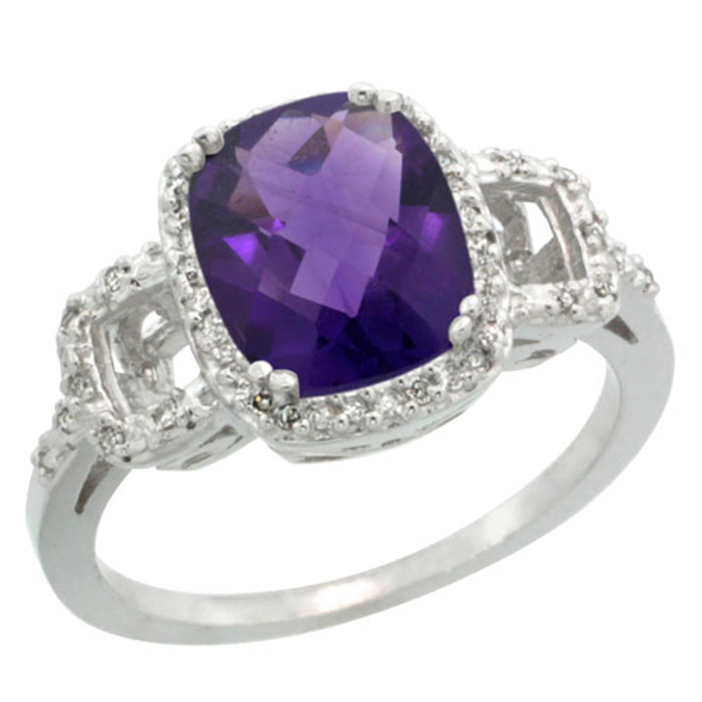 Sterling Silver Diamond Natural Amethyst Ring Cushion-cut 9x7mm, 1/2 inch wide, sizes 5-10