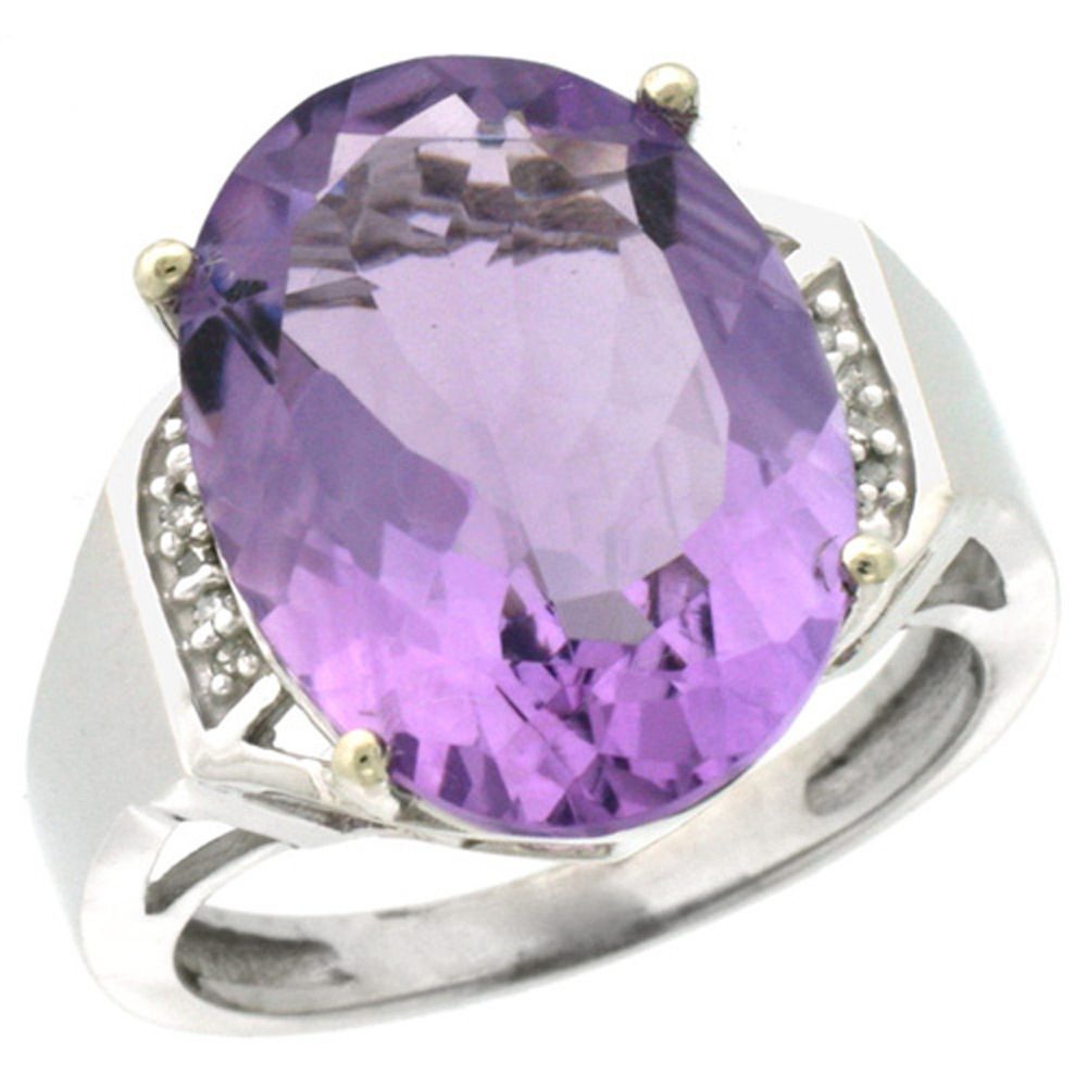 Sterling Silver Diamond Natural Amethyst Ring Oval 16x12mm, 5/8 inch wide, sizes 5-10