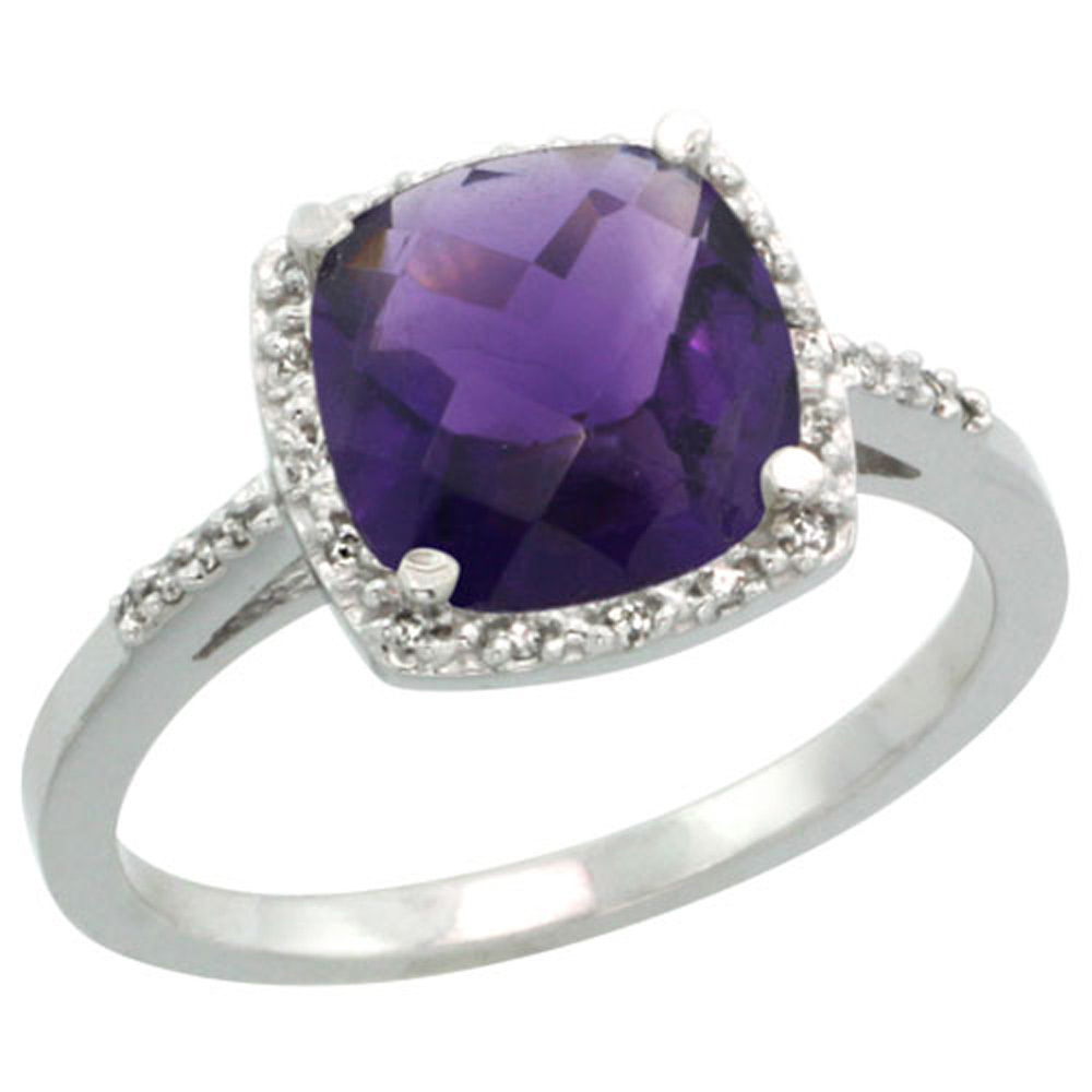 Sterling Silver Diamond Natural Amethyst Ring Cushion-cut 8x8mm, 1/2 inch wide, sizes 5-10