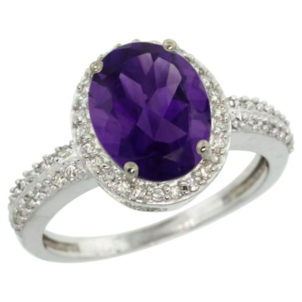 Sterling Silver Diamond Natural Amethyst Ring Oval 10x8mm, 1/2 inch wide, sizes 5-10