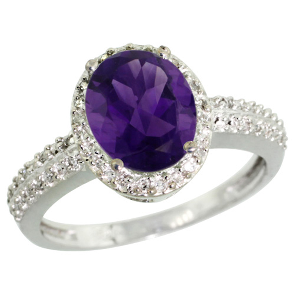 Sterling Silver Diamond Natural Amethyst Ring Oval 9x7mm, 1/2 inch wide, sizes 5-10