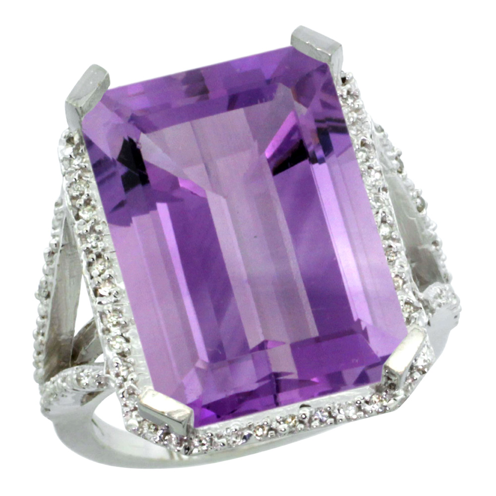 Sterling Silver Diamond Amethyst Ring Emerald-cut 18x13mm, 13/16 inch wide, sizes 5-10