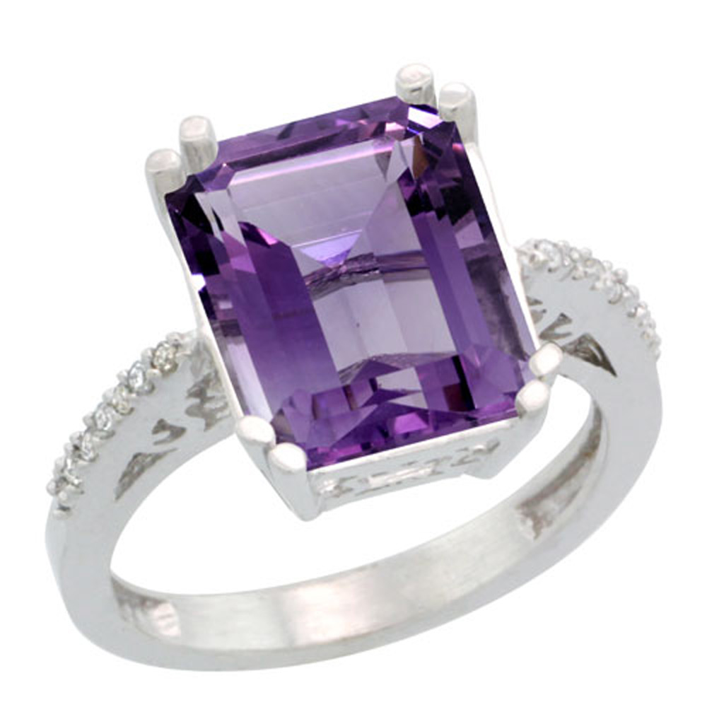 Sterling Silver Diamond Amethyst Ring Emerald-cut 12x10mm, 1/2 inch wide, sizes 5-10