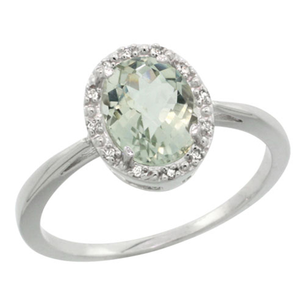 Sterling Silver Natural Green Amethyst Diamond Halo Ring Oval 8X6mm, 1/2 inch wide, sizes 5-10