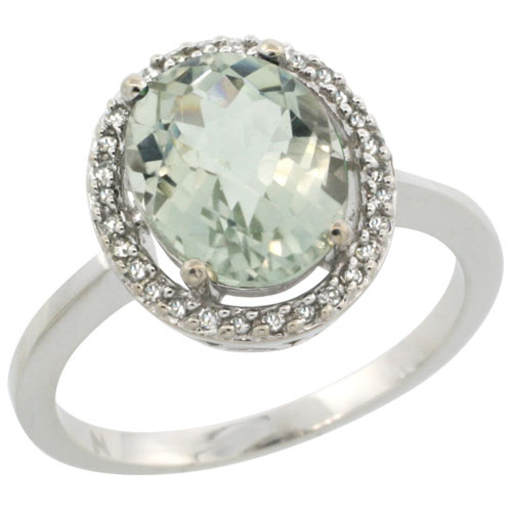Sterling Silver Diamond Halo Natural Green Amethyst Ring Oval 10X8 mm, 1/2 inch wide, sizes 5-10