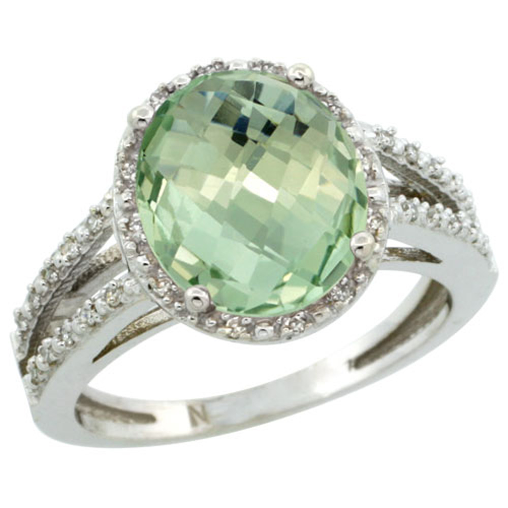 Sterling Silver Diamond Halo Natural Green Amethyst Ring Oval 11x9mm, 7/16 inch wide, sizes 5-10
