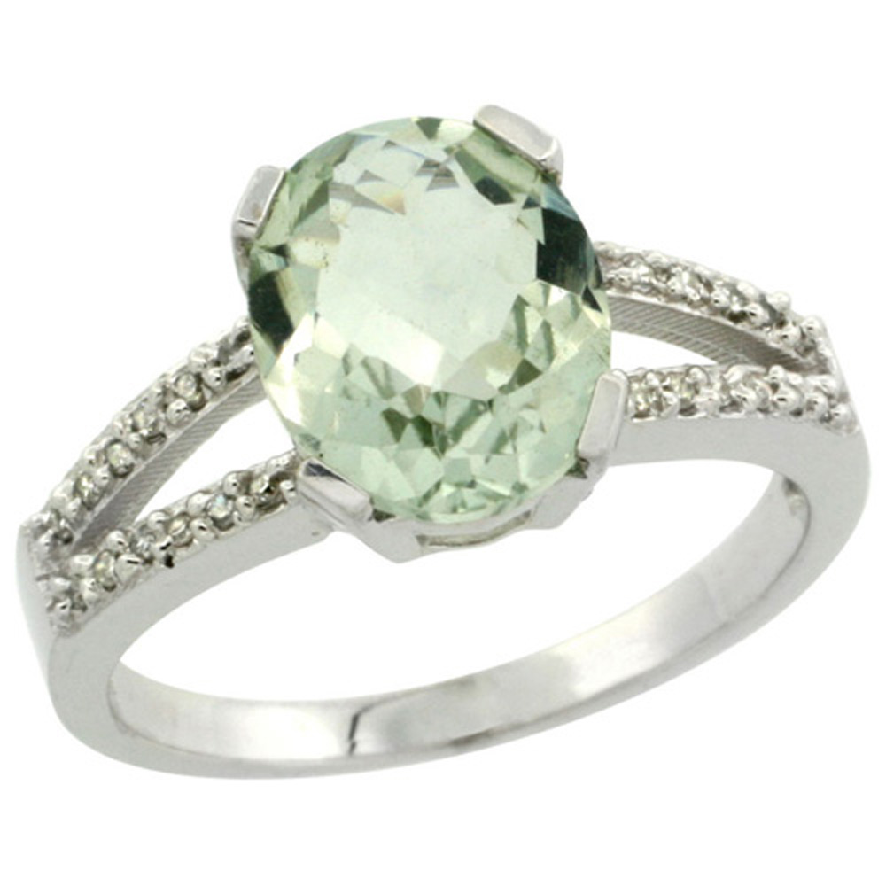 Sterling Silver Diamond Halo Natural Green Amethyst Ring Oval 10x8mm, 3/8 inch wide, sizes 5-10