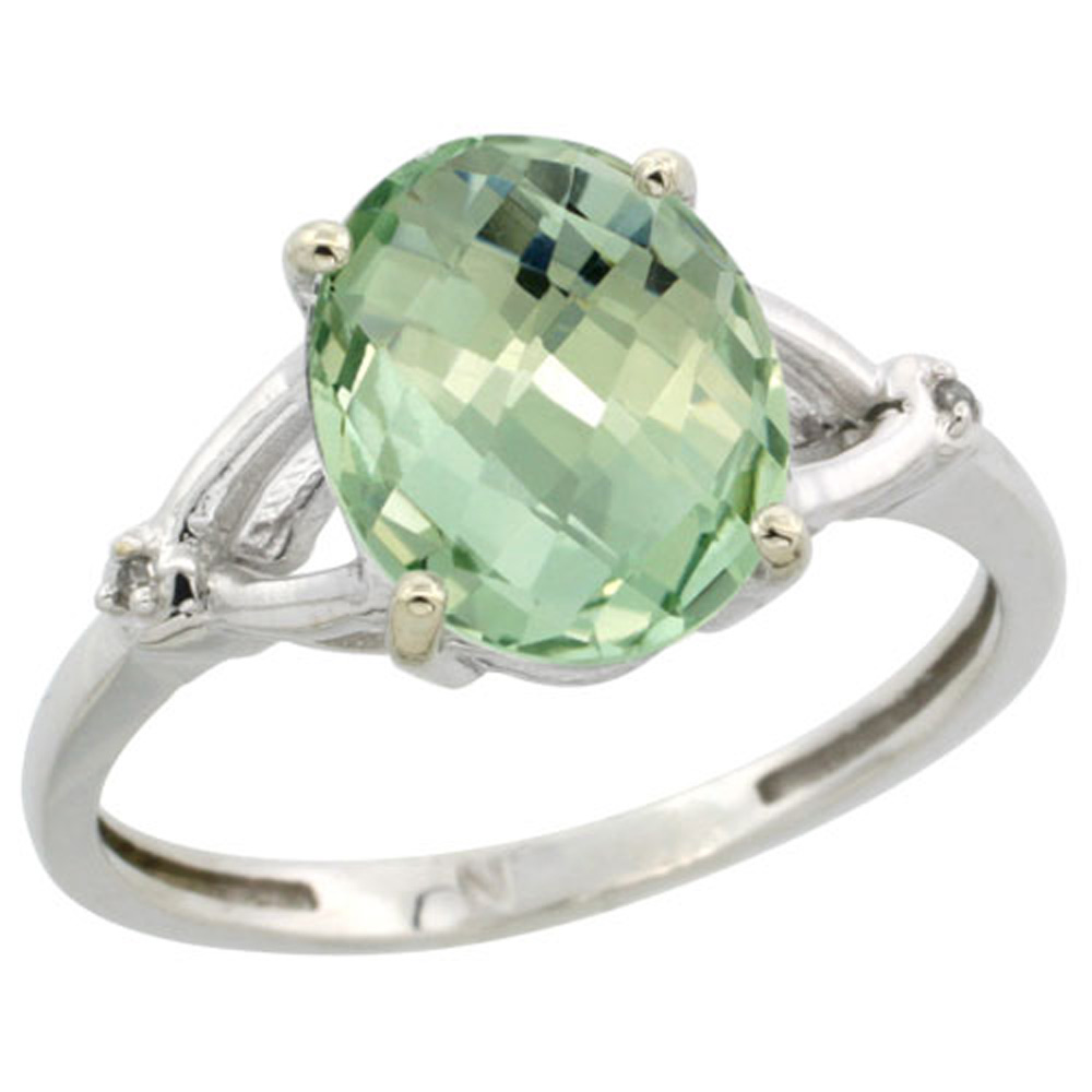 Sterling Silver Diamond Natural Green Amethyst Ring Oval 10x8mm, 3/8 inch wide, sizes 5-10