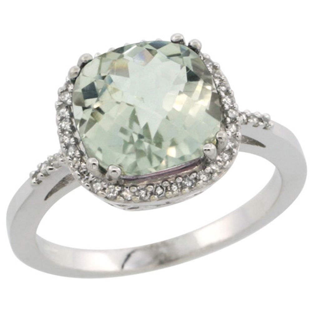 Sterling Silver Diamond Natural Green Amethyst Ring Cushion-cut 9x9mm, 1/2 inch wide, sizes 5-10