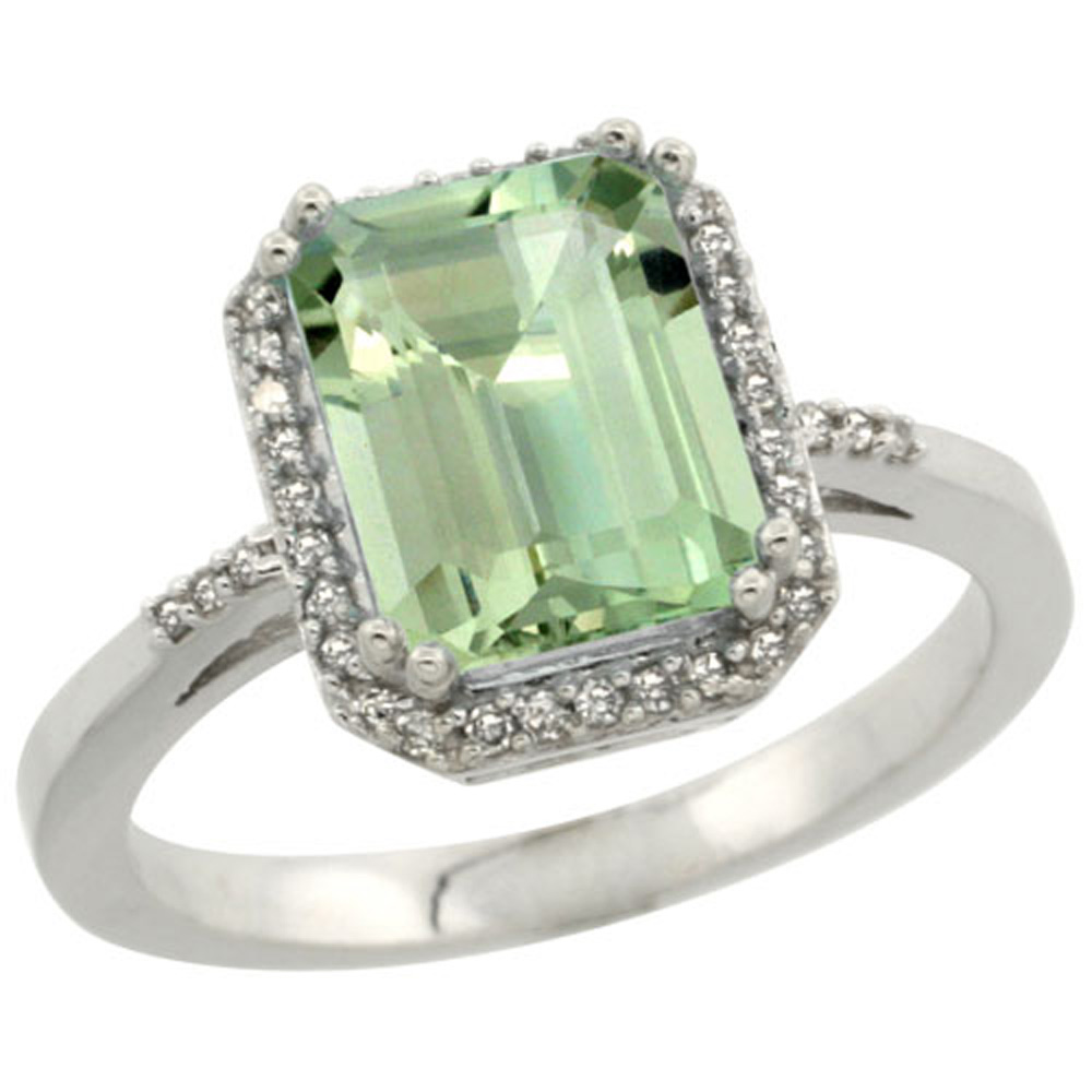 Sterling Silver Diamond Green Amethyst Ring Emerald-cut 9x7mm, 1/2 inch wide, sizes 5-10