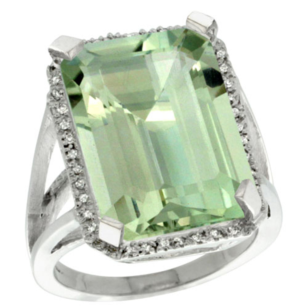Sterling Silver Diamond Green Amethyst Ring Emerald-cut 18x13mm, 13/16 inch wide, sizes 5-10