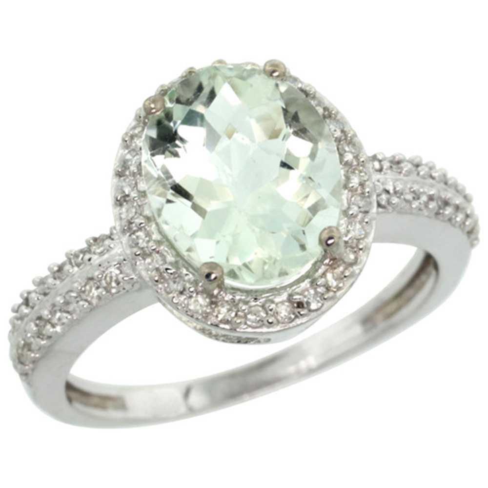 Sterling Silver Diamond Natural Green Amethyst Ring Ring Oval 10x8mm, 1/2 inch wide, sizes 5-10