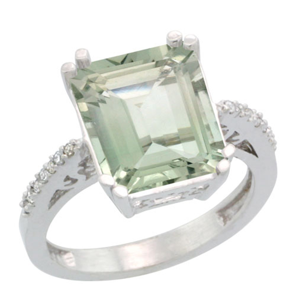 Sterling Silver Diamond Green Amethyst Ring Emerald-cut 12x10mm, 1/2 inch wide, sizes 5-10