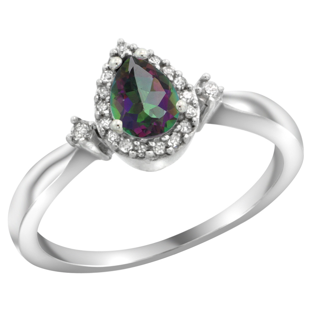 Sabrina Silver Sterling Silver Diamond Mystic Topaz Ring Pear 6x4mm, 3/8 inch wide, sizes 5-10 at Sears.com
