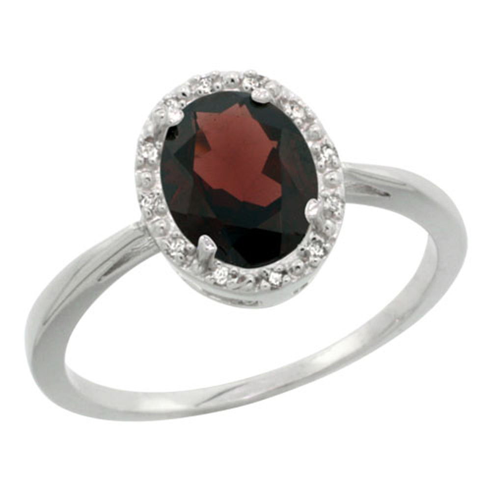 Sterling Silver Natural Garnet Diamond Halo Ring Oval 8X6mm, 1/2 inch wide, sizes 5-10
