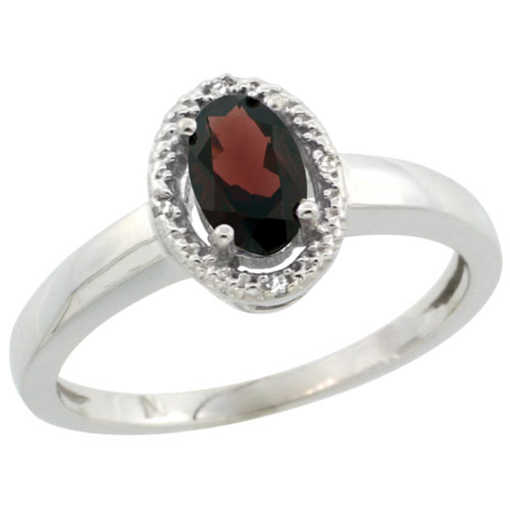 Sterling Silver Diamond Halo Natural Garnet Ring Oval 6X4 mm, 3/8 inch wide, sizes 5-10