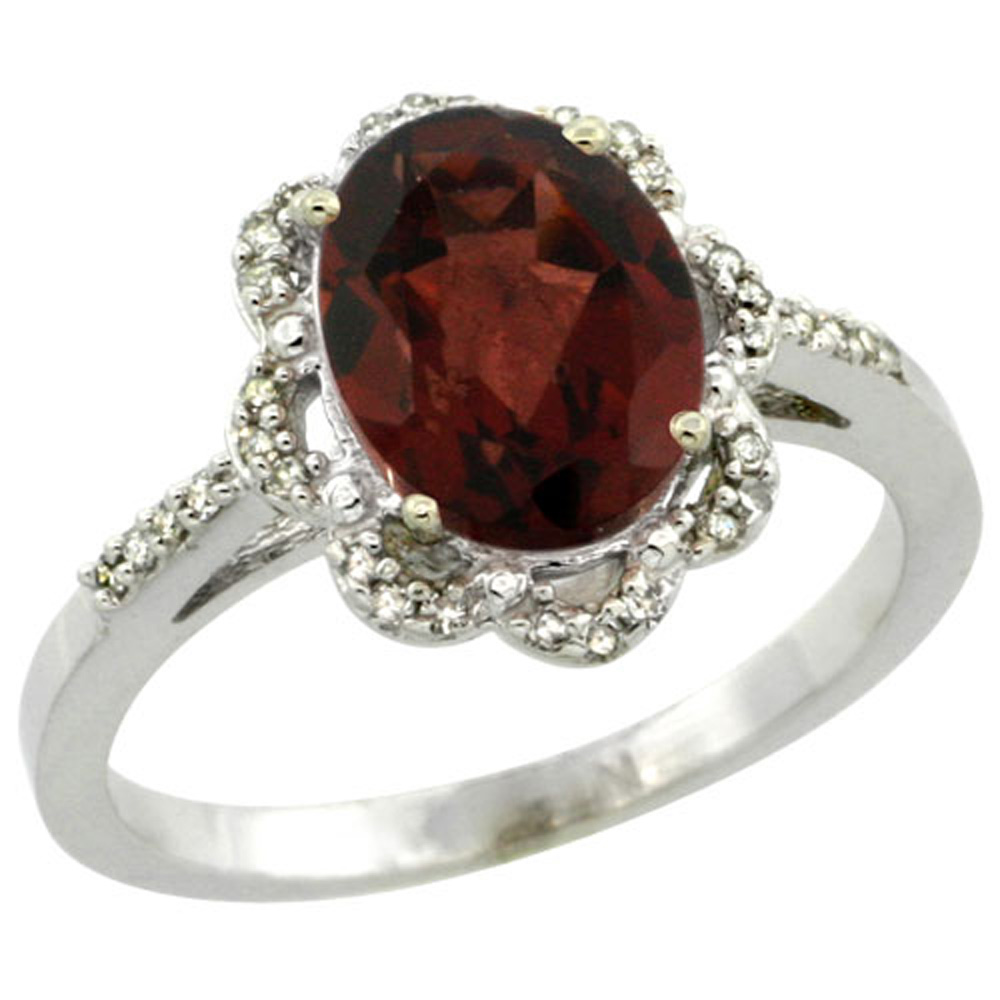 Sterling Silver Diamond Halo Natural Garnet Ring Oval 9x7mm, 7/16 inch wide, sizes 5-10