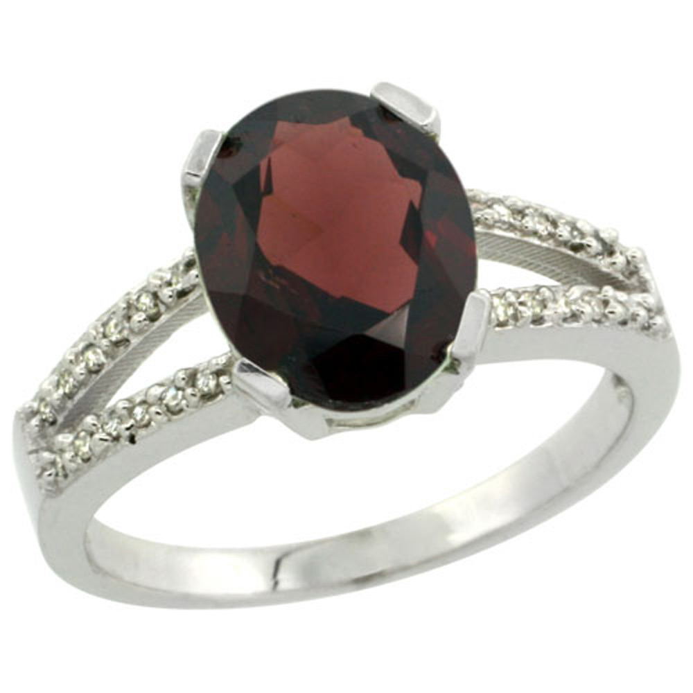 Sterling Silver Diamond Halo Natural Garnet Ring Oval 10x8mm, 3/8 inch wide, sizes 5-10