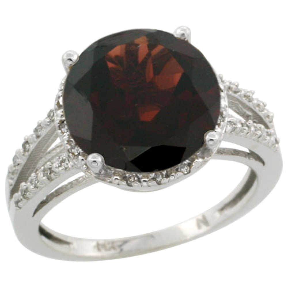 Sterling Silver Diamond Natural Garnet Ring Round 11mm, 1/2 inch wide, sizes 5-10