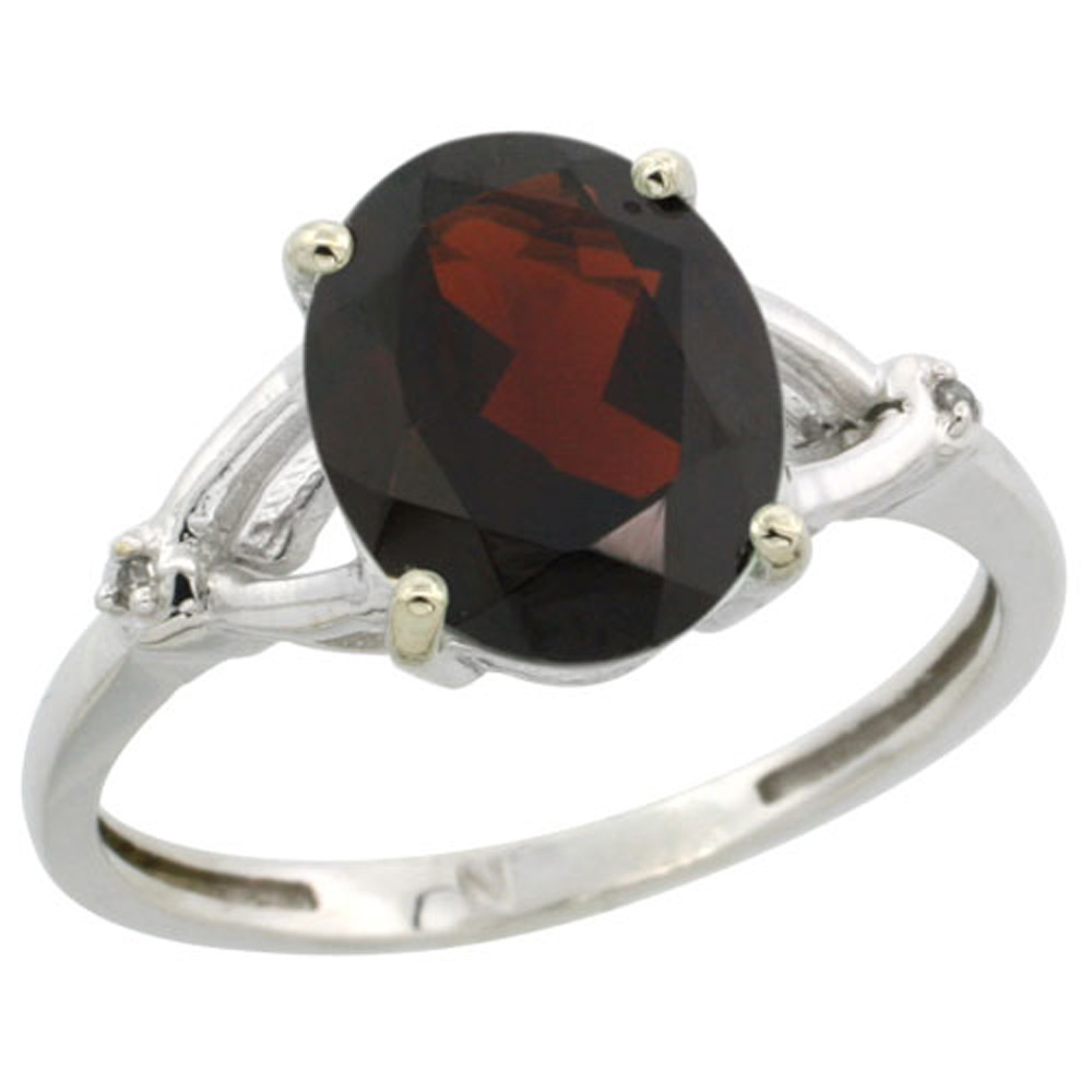 Sterling Silver Diamond Natural Garnet Ring Oval 10x8mm, 3/8 inch wide, sizes 5-10