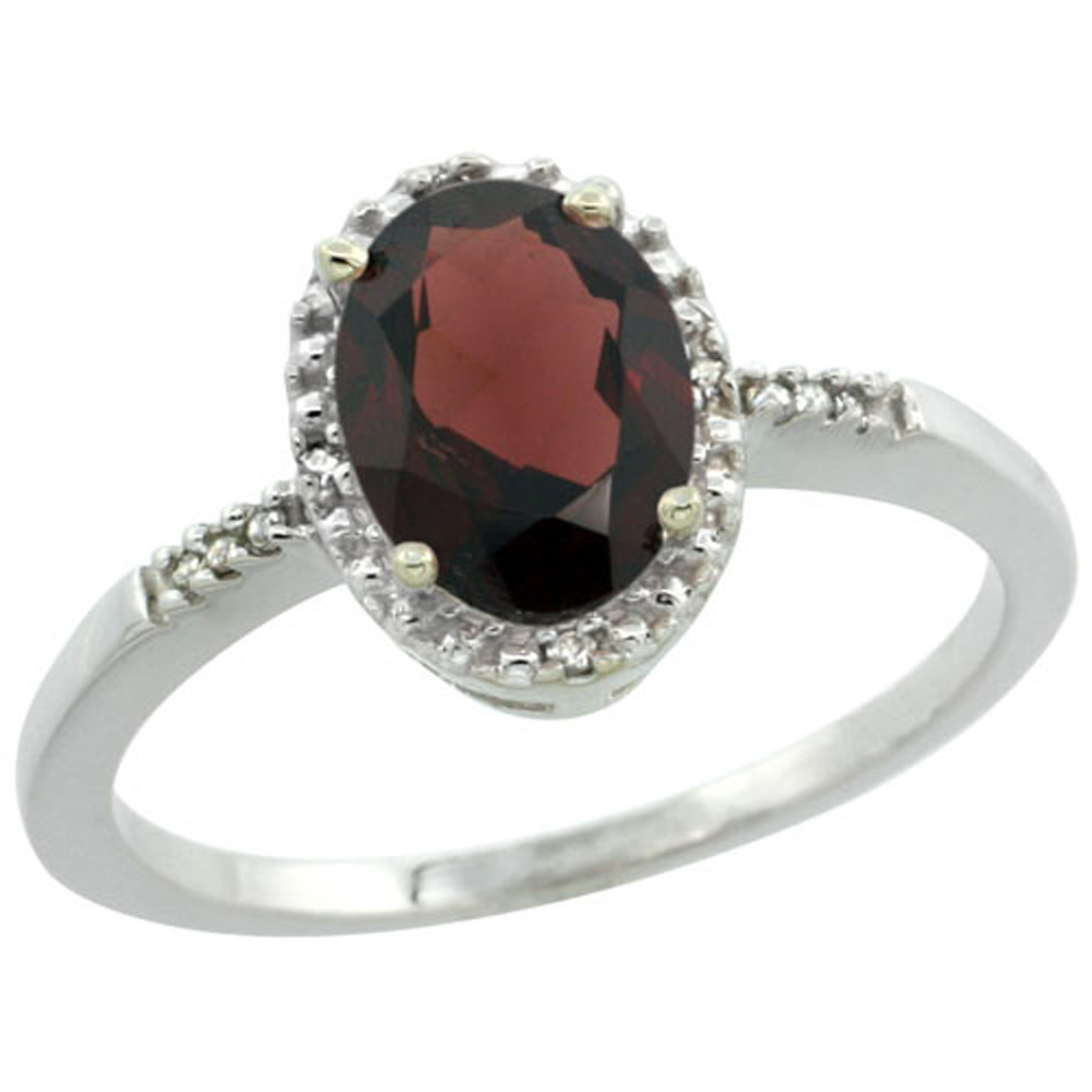 Sterling Silver Diamond Natural Garnet Ring Oval 8x6mm, 3/8 inch wide, sizes 5-10