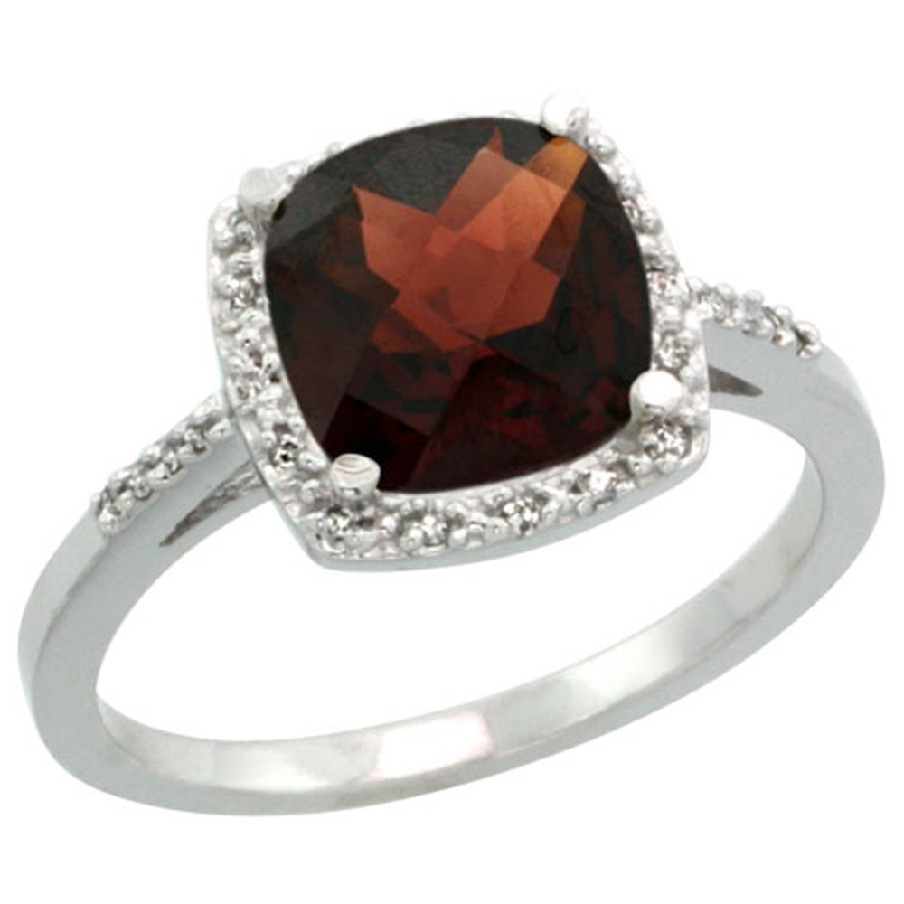 Sterling Silver Diamond Natural Garnet Ring Cushion-cut 8x8mm, 1/2 inch wide, sizes 5-10