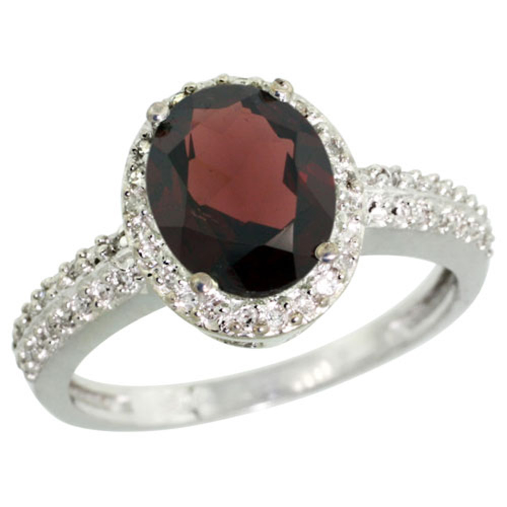Sterling Silver Diamond Natural Garnet Ring Oval 9x7mm, 1/2 inch wide, sizes 5-10