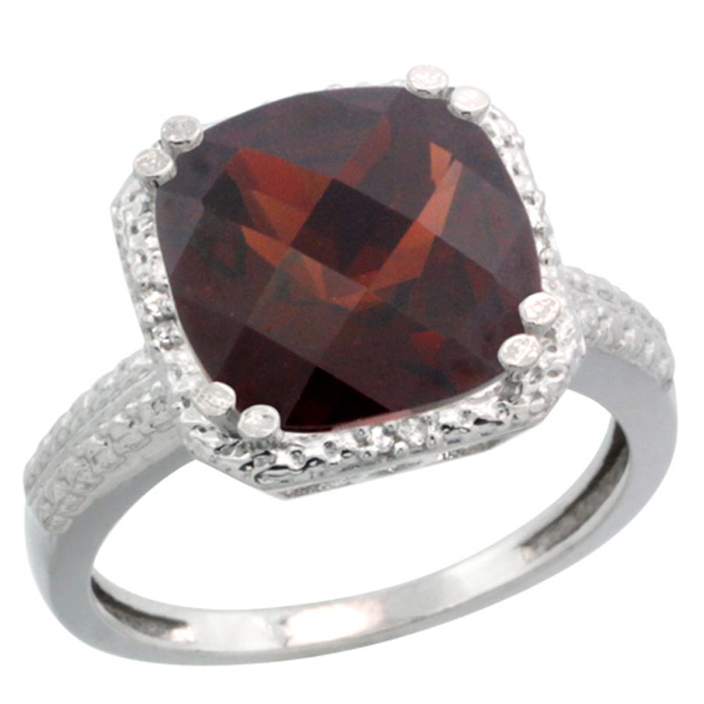Sterling Silver Diamond Natural Garnet Ring Cushion-cut 11x11mm, 1/2 inch wide, sizes 5-10