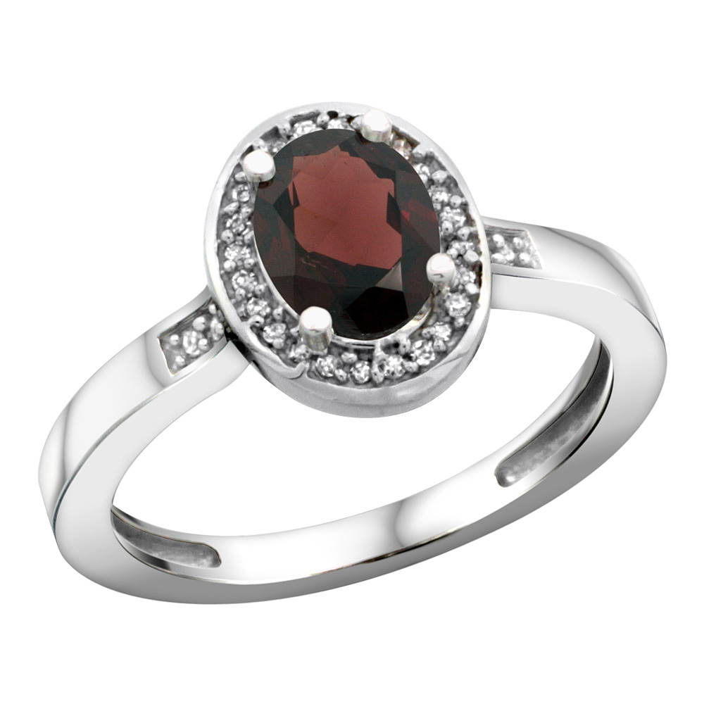 Sterling Silver Diamond Natural Garnet Ring Oval 7x5mm, 1/2 inch wide, sizes 5-10