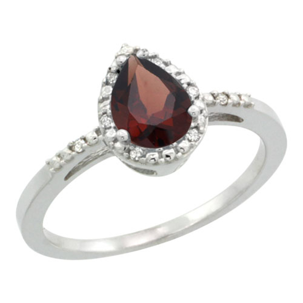 Sterling Silver Diamond Natural Garnet Ring Pear 7x5mm, 3/8 inch wide, sizes 5-10