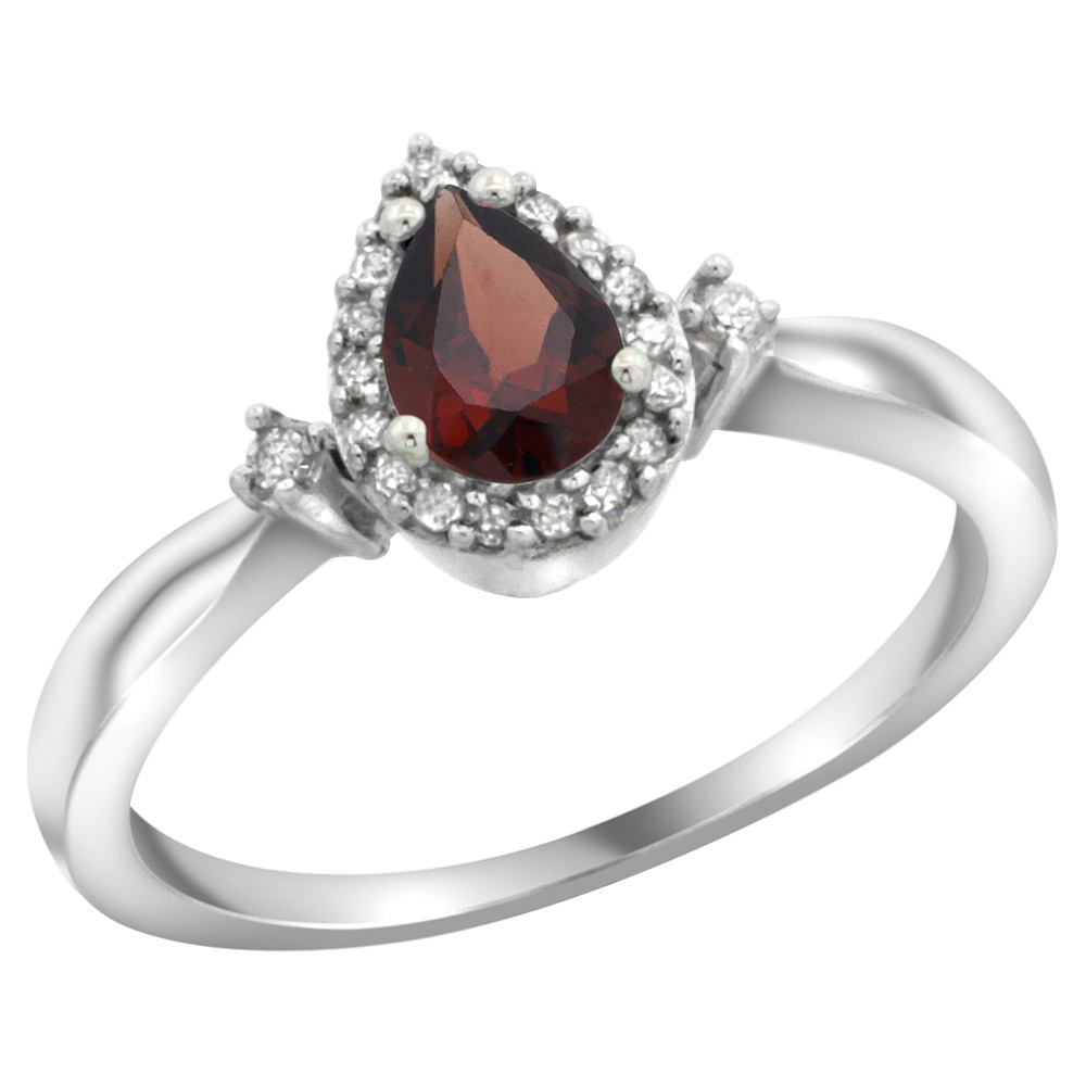Sterling Silver Diamond Natural Garnet Ring Pear 6x4mm, 3/8 inch wide, sizes 5-10