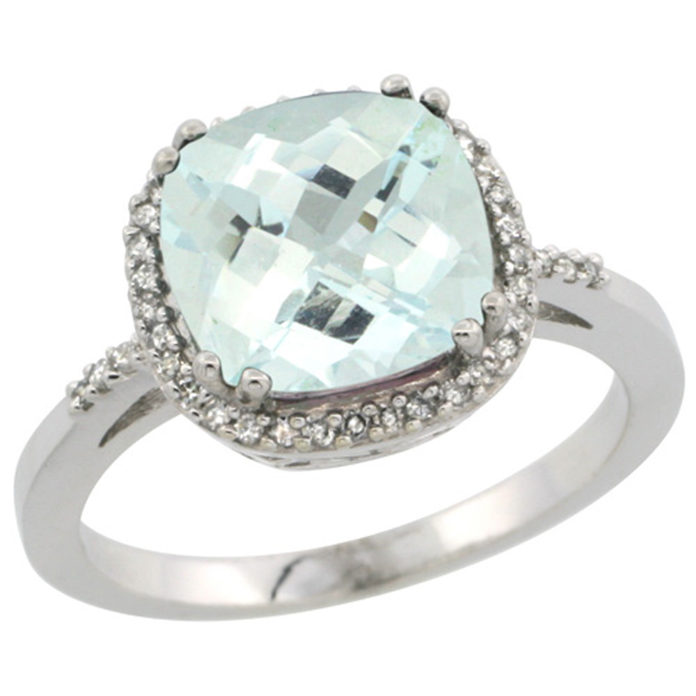 Sterling Silver Diamond Natural Aquamarine Ring Cushion-cut 9x9mm, 1/2 inch wide, sizes 5-10