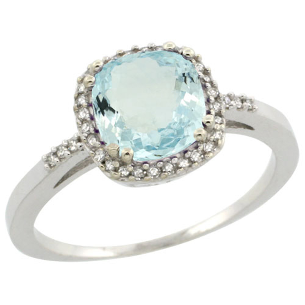 Sterling Silver Diamond Natural Aquamarine Ring Cushion-cut 7x7mm, 3/8 inch wide, sizes 5-10