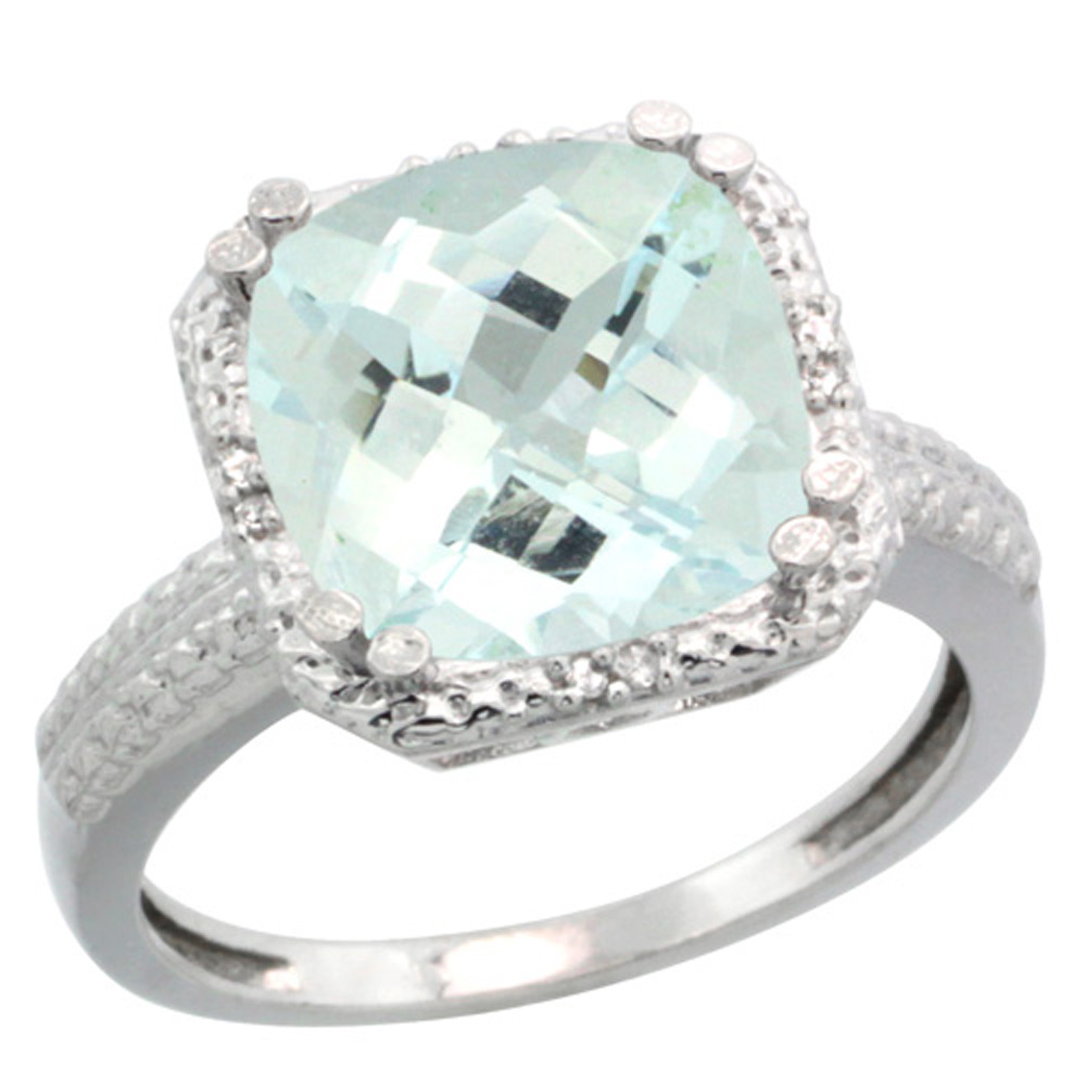 Sterling Silver Diamond Natural Aquamarine Ring Cushion-cut 11x11mm, 1/2 inch wide, sizes 5-10