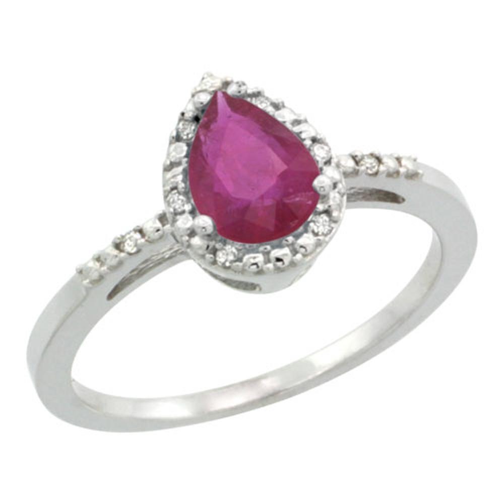 Sabrina Silver Sterling Silver Diamond Enhanced Ruby Ring Pear 7x5 mm sizes 5-10