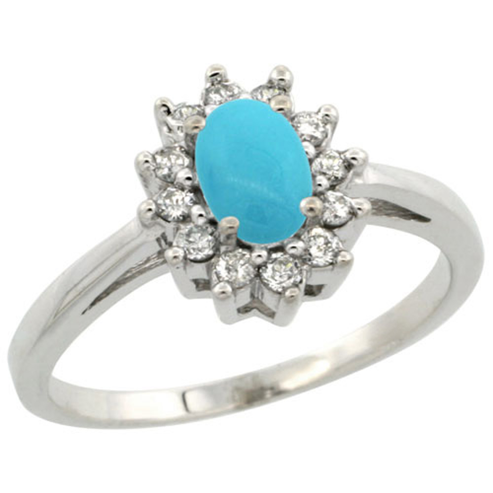 Sterling Silver Diamond Gemstone Rings/Turquoise