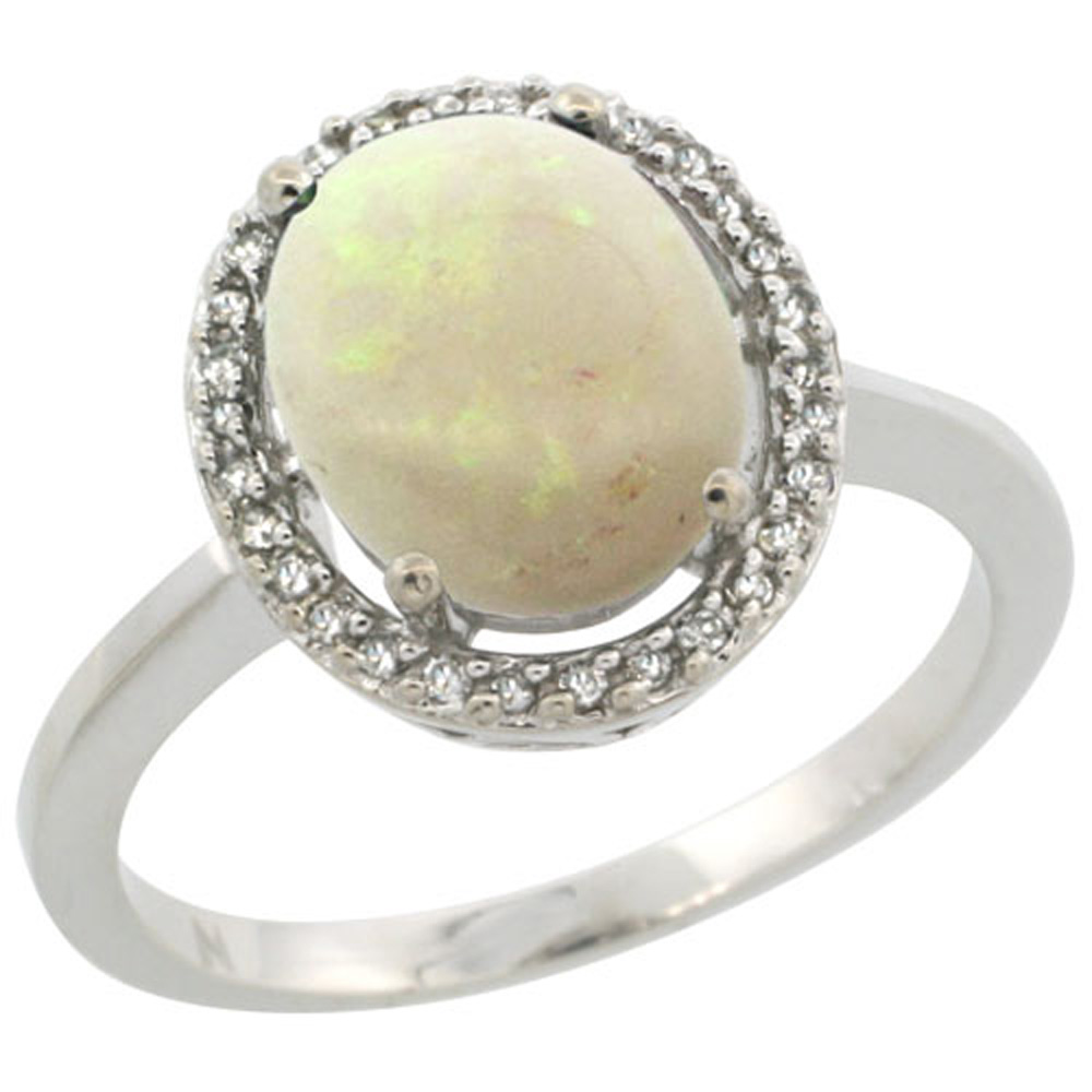 Sterling Silver Diamond Halo Natural Opal Ring Oval 10X8 mm, 1/2 inch wide, sizes 5 10