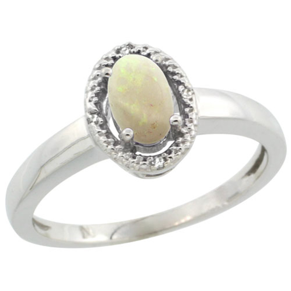 Sterling Silver Diamond Halo Natural Opal Ring Oval 6X4 mm, 3/8 inch wide, sizes 5-10