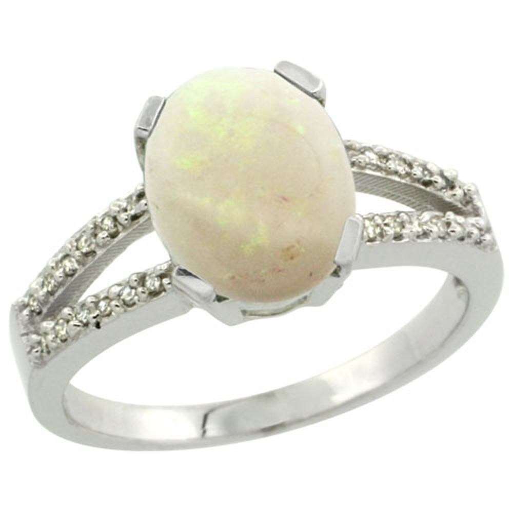 Sterling Silver Diamond Halo Natural Opal Ring Oval 10x8mm, 3/8 inch wide, sizes 5-10