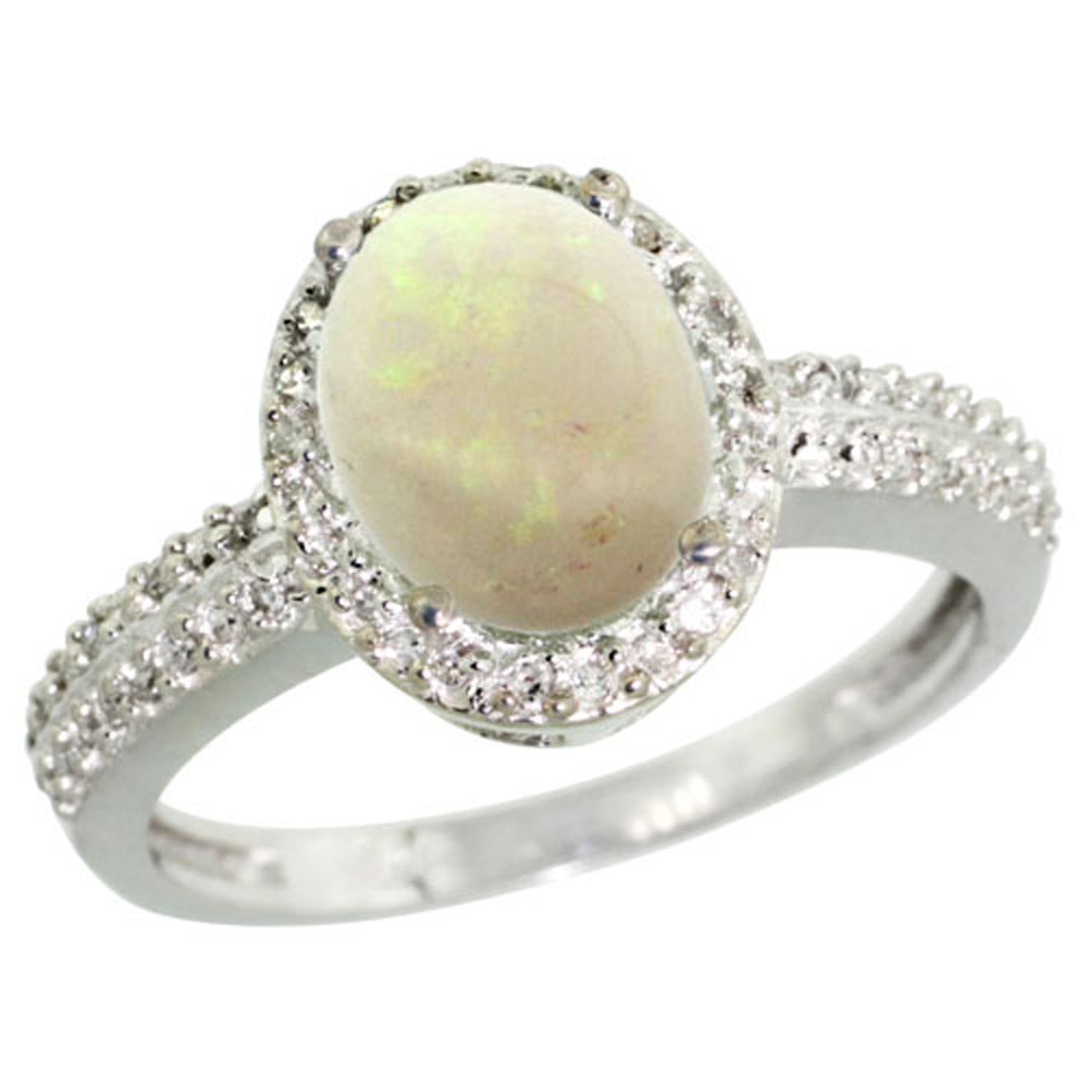 Sterling Silver Diamond Natural Opal Ring Oval 9x7mm, 1/2 inch wide, sizes 5-10