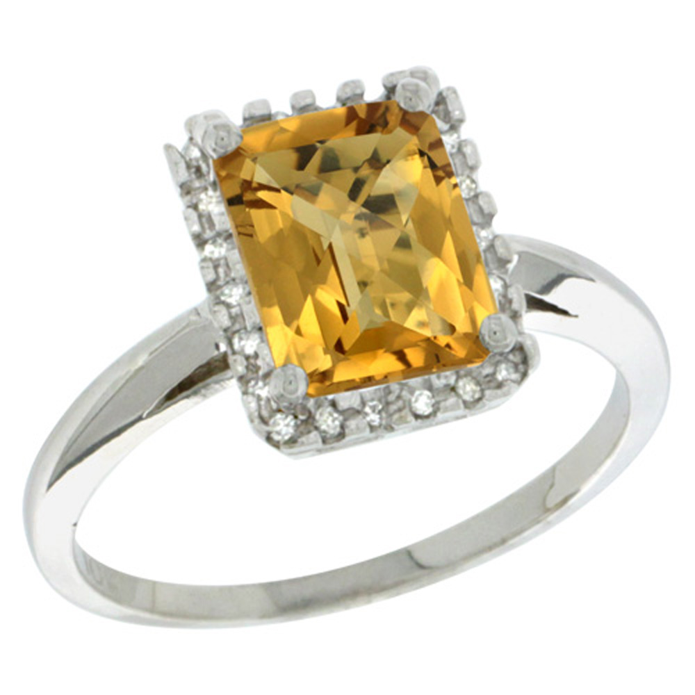 Sterling Silver Diamond Natural Whisky Quartz Ring Emerald-cut 8x6mm, 1/2 inch wide, sizes 5-10