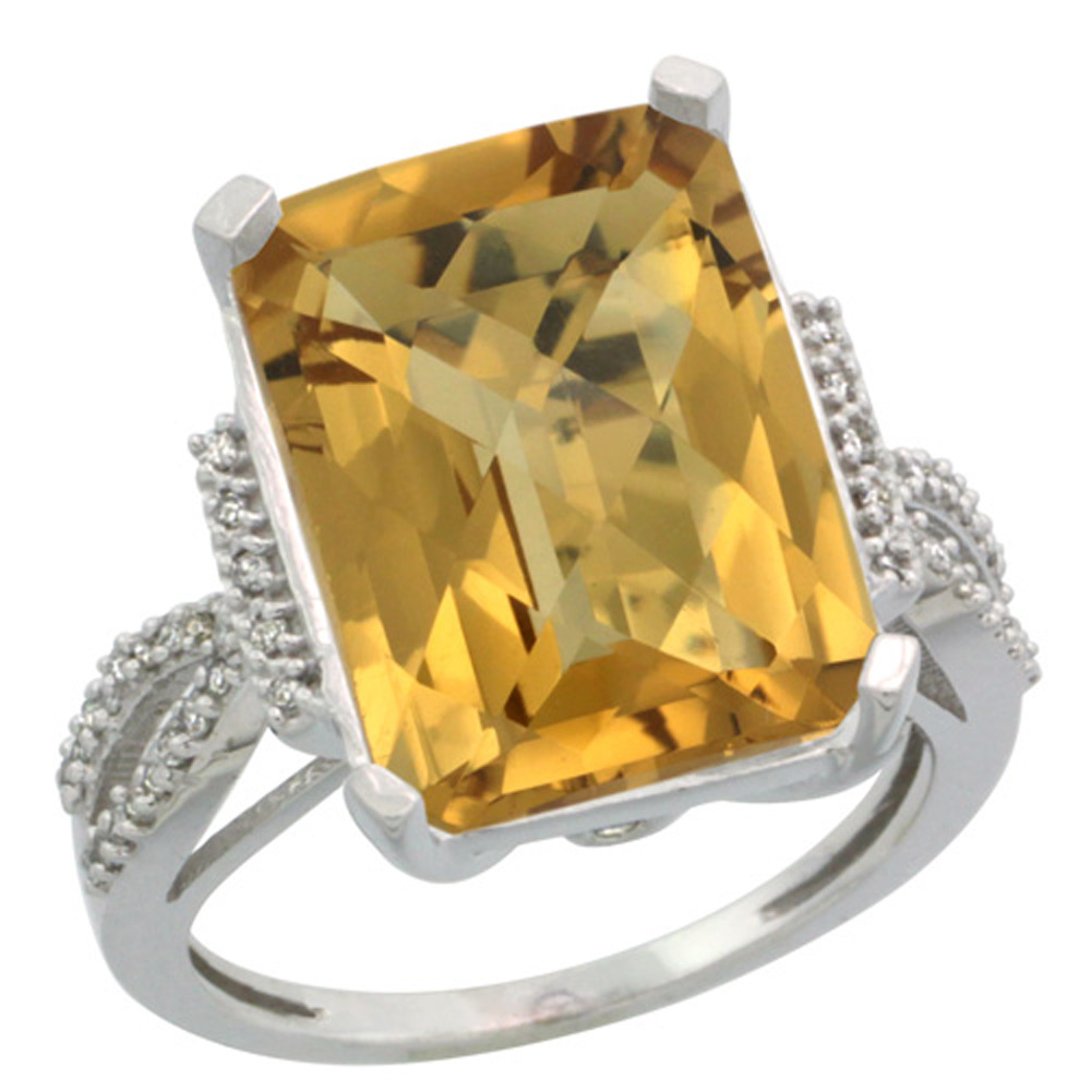 Sterling Silver Diamond Natural Whisky Quartz Ring Emerald-cut 16x12mm, 3/4 inch wide, sizes 5-10