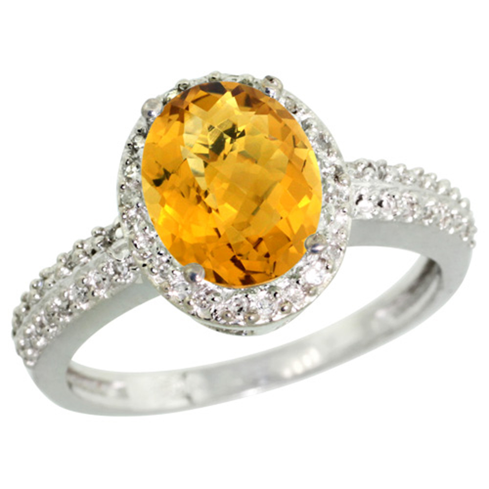 Sterling Silver Diamond Natural Whisky Quartz Ring Oval 9x7mm, 1/2 inch wide, sizes 5-10