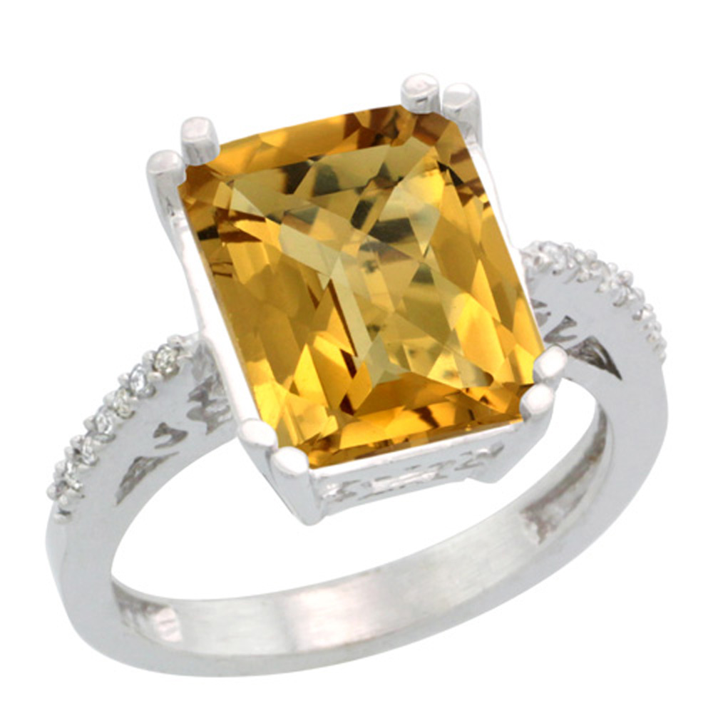 Sterling Silver Diamond Natural Whisky Quartz Ring Emerald-cut 12x10mm, 1/2 inch wide, sizes 5-10